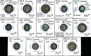 14 OLD CANADA SILVER 5/10/20/25¢ (1858-1936) CV $762 USD > SEE IMAGES > NO RSRV