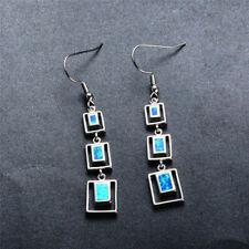 Women Elegant Blue Imitation Opal Silver Dangle Hook Earrings wedding gift