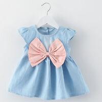 Summer Toddler Kids Baby Girls Tutu Dress Bow Denim Princess Party Wedding Dress
