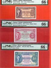 1941  Malaya KG VI 1-5-10 cents note .PMG66 rare set