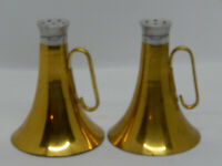 Vintage Brass Bugle / Horn Salt & Pepper Shakers ~ Glass w/Polished Brass Covers