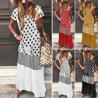ZANZEA UK Womens Summer Bohemia Short Sleeve Long Sundress Polka Dot Maxi Dress