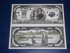 OUT LAWS BONNIE+CLYDE UNC. $100,000 U.S  NOVALTY BANKNOTE FREE NOTE OFFER!