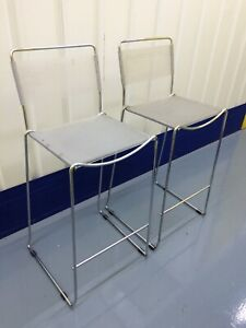 Conran Polished Stainless Steel Counter Height Chairs with Clear Nylon Cord Seat