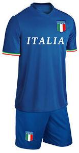 Italien Kinder Trikot Set Fußball Fan Zweiteiler Blau