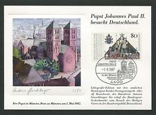 BUND MK 1987 PAPST-BESUCH MÜNSTER DOM MAXIMUMKARTE CARTE MAXIMUM CARD MC CM m59