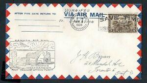 Canada - 1930 First Flight Official Airmail Cover Winnipeg to Saskatoon