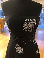 Karen Merkel Black Silk Corset Dress With White Floral Embroidery Label 12 (8/10