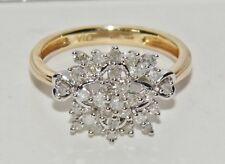 9ct Oro Giallo 0.25ct Diamante FIOCCO DI NEVE Cluster Anello-Dimensione H