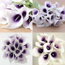 Wuudi 20pcs Calla Lily Bridal Wedding Bouquet head Latex Real Touch Purple
