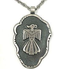 Navajo Thunderbird Necklace 30in Bell Trading Post Vtg Nickel Silver 1960s