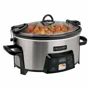 Crock-Pot 6-Quart Cook & Carry Digital Slow Cooker with Heat Saver Stoneware, Br