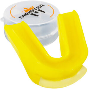 YELLOW DOUBLE MOUTH GUARD w/ CASE - MEISTER MMA Gum Shield CUSTOM FIT MOLDABLE