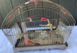Vintage Hendryx Wire Parakeet Finch Canary Bird  Cage Mid century