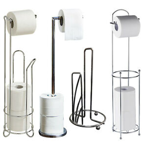 Chrome Toilet Paper Free Standing Storage Holder Frame Bathroom-Four Variations
