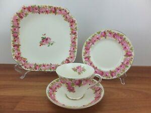 Vintage ROYAL DOULTON Raby Rose V 2339 Trio Tea Cup Saucer Set & Cake Plate