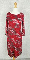 White Stuff UK 14 EUR 42 Dark Red A-Line Dress Clouds 3/4 Sleeve Immaculate #RB