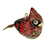 Red Cardinal Bird Cloisonne Metal Christmas Tree Ornament Decoration New