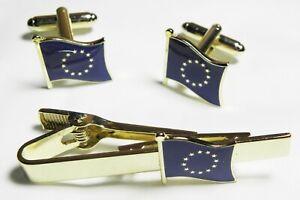 Europe EU Flag Cuff Links & Tie Bar Clip Europa European Euro Cufflinks Set