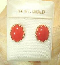 8X10 GENUINE NATURAL OVAL RED CORAL SOLID 14K YELLOW GOLD POST STUD EARRINGS #2