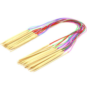 18x Bamboo Knitting Needles Set Circular Wooden Knitting Needle w/ Colorful Tube