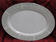 Mikasa Chapel 5764, Green Border, Platinum Trim: Oval Serving Platter 16 1/8""