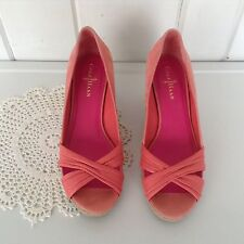 "Cole Haan Nike Air Wedge Coral Pump Suede Like Open Toe Shoes Sz 8 1/2 - 3"" heel"