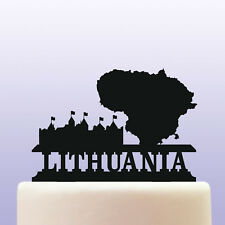 Acrylic Lithuania Country Map and Castle Childrens Education Cake Topper