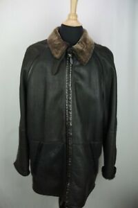 LaMatta Black Leather Shearling Long Mens Overcoat Jacket Sz 46 US Made in Italy