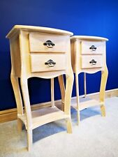 Matching Pair French Style Weathered Oak Bedside Lamp Tables Shabby Chic Set of2