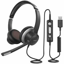 Mpow Wired Headset Over Ear USB Headphone Mic For PC Laptop Calling Center Skype