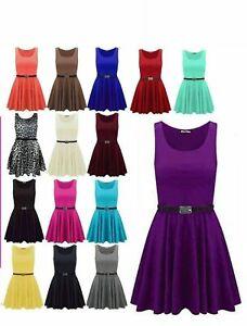 Womens Skater Dress Ladies Plain Franki Flared Dress 11 Colours S/M M/L Sizes