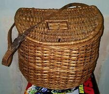 VINTAGE FISHING BASKET/ CREEL WITH CENTRE HOLE AND LEATHER BELT.NO DAMAGE.