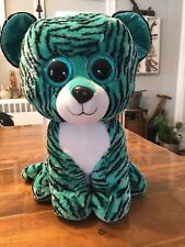 "TY 2015 JUSTICE EXCLUSIVE TESS THE TIGER BEANIE BOO JUMBO 16"" BLUE AQUA TIGER"