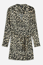 Ex Topshop Leopard Animal Print Shirt Dress - Regular Petite Size 6 -18