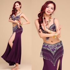 Womens Belly Dance Costumes Bra&Belt&Skirt 3 Pcs Set Indian Dancing Dress
