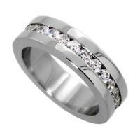 Surgical Steel Cubic Zirconia Eternity Ring 6mm Wedding Band, sizes 5 - 9