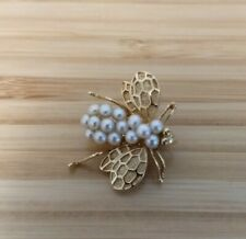 14K Gold and Seed Pearl Bee Pin Brooch