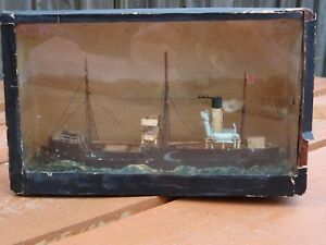 Antique Model USA Fishing Trawler In A Cigar Box