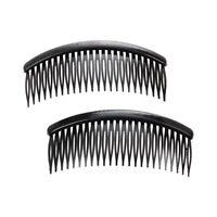 5X(Practical Black Plastic 24 Teeth Hair Comb Clip Clamp 2 Pcs for Lady Gir Y7B2