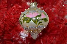 Katherine Kleski Collection Christmas Glass Ornament Floral with Pearls New