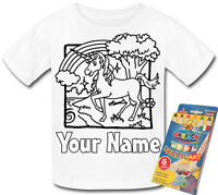 """UNICORN PERSONALISED YOUR OWN """"COLOUR ME IN"""" T-SHIRT *FUN PARTY GIFT & NAMED ! *"""