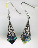 """925 Sterling Silver Abalone Blue / Green Drop / Dangle Earrings   1.1/2""""  40mm"""