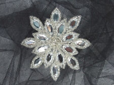 "Beaded Applique Crystal Silver Snowflake Jewel Star Rhinestone Patch 3"" (XR32)"