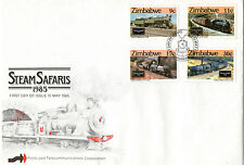 ZIMBABWE 1985 STEAM SAFARIS RAILWAY FIRST DAY COVER SHS