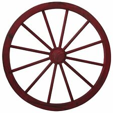 Wagon Wheel 30 Inch Red Wash Country Decor Wall Decoration Solid Pine