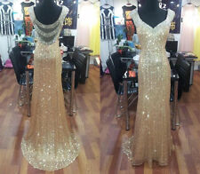 Custom Sexy Gold sequins Long Prom Dresses Formal Evening Party dress Ball Gown