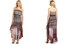 NWT GYPSY 05 Isla Ruffle Tube Hi Low Silk Maxi Dress S $352 TANGERINE