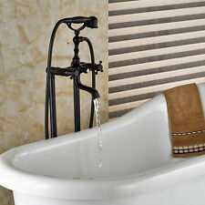 Oil Rubbed Bronze Floor Mount Tub Faucet Clawfoot Tub Filler Hand Shower Mixer