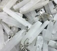 LOT OF 10 SELENITE MINERAL CRYSTAL PENDANT WITH CLIP BAIL FROM MOROCCO (S12)